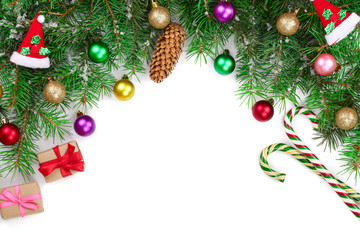 Christmas background decorated isolated on white with copy space for your text. Top view.