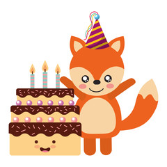 cute fox and cake kawaii birthday