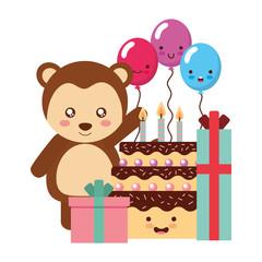 cute monkey gifts and balloons kawaii birthday