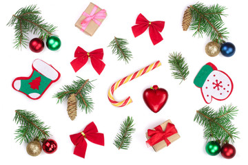 Christmas background with fir branches and decoration isolated on white background. Top view. Flat lay