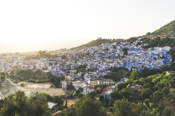 View of Chefchaouen from the hill of Jemaa Bouzafar Mosque, Morocco.