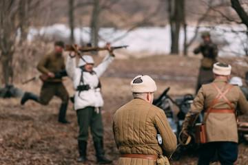 Re-enactors Dressed As Russian Soviet Soldiers Of World War II P