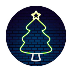 neon tree with star sticker merry christmas