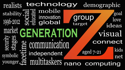 Generation Z in word collage. Marketing and targeting concept