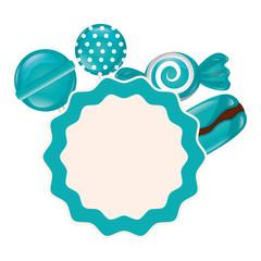 sweet candies label macaron lollipop caramel