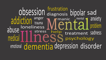 Mental Illness, word cloud concept on black background.