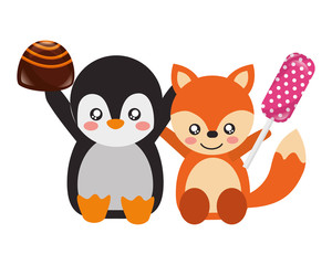 cute fox and penguin sweet candy chocolate
