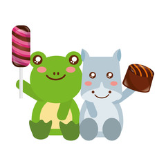 cute frog and hippo sweet candies