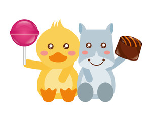 cute hippo and duck sweet candies