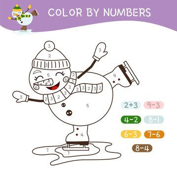 Coloring book for children. Coloring by numbers. Vector cute cartoon snowman.