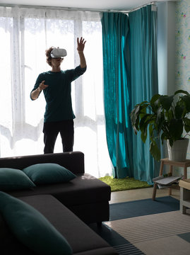 Man excited with virtual world at home