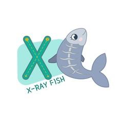 Vector cute kids animal alphabet. Letter X. Cute cartoon x-ray fish.