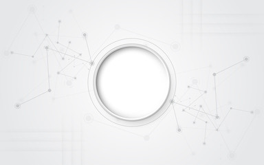 Grey white Abstract technology background with various technology elements Hi-tech communication concept innovation background Circle empty space for your text Wall mural