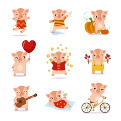 Vector set of cute cartoon pigs in various poses. Chinese calendar for the year of pig 2019.