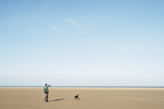 Male playing ball with his dog on a vast empty beach. Holkham, N