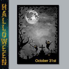 Halloween scary night flyer vector design template