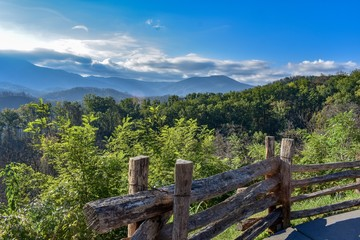 Smoky Mountain Landscape with Split Rail Fence