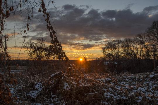 Sunrise on field