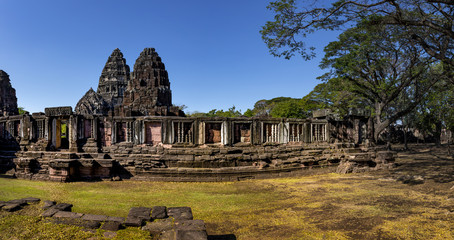 wide angle of prasat hin phimai korat one of most popular history traveling destinaton in nakornratchasima north eastern thailand