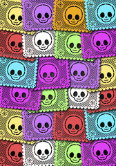 Mexican Day of the Death colorful poster traditional street deorations illustration