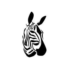 silhouette of zebra head logo vector