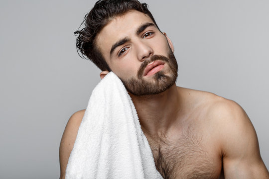 Handsome young man beauty session.