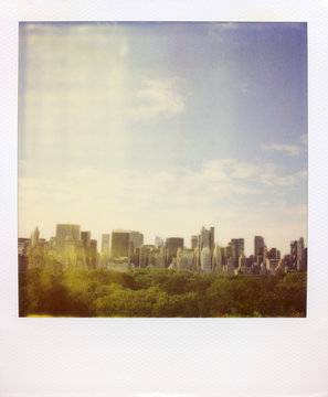 Polaroid Of The New York City Skyline And Central Park