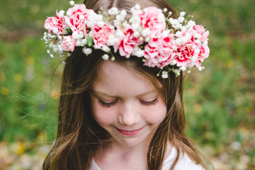 Cute girl modeling a flower crown