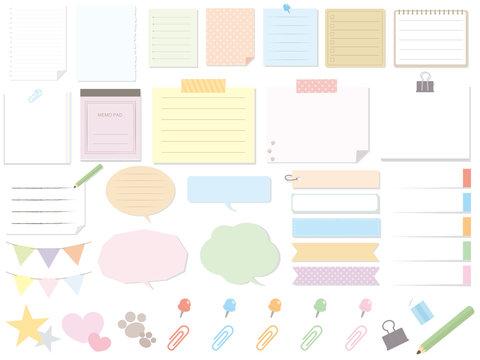 カラフルなメモ用紙素材