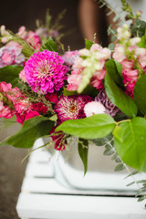 fresh flower bouquet from street side flower cart