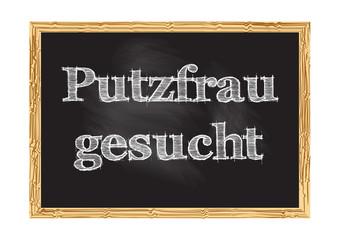 Putzfrau gesucht - Cleaning lady wanted in German blackboard notice Vector illustration
