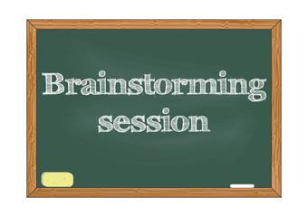 Brainstorming session chalkboard notice Vector illustration for design