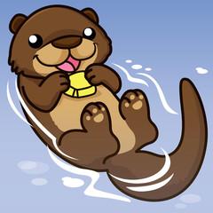 otter cartoon, cartoon cute, animal cute