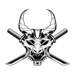 samurai mask Sword skull drawing vector illustration