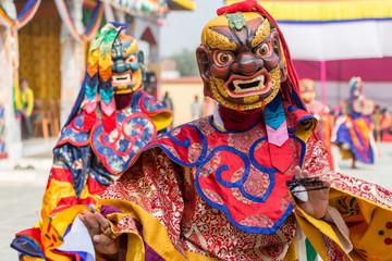 Tibetan buddhism ,Mask dance ,cham at Bhutan temple