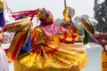 Tibetan buddhism ,Mask dance ,cham at Bhutan temple