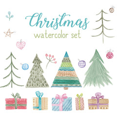 Christmas different trees, gifts, decorative elements watercolor.