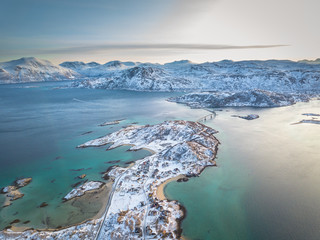Aerial view of Sommaroy on a crisp winters day
