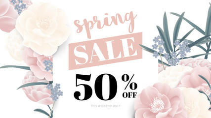 Botanical spring sale banner template design, pink and white rose flowers with leaves, pastel tone