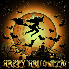 Happy Halloween card with cemetery and witch on a broomstick , vector illustration