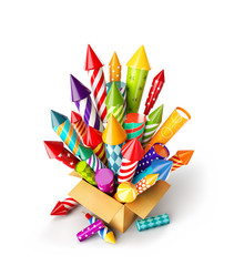 bright colorful fireworks rockets in a box.