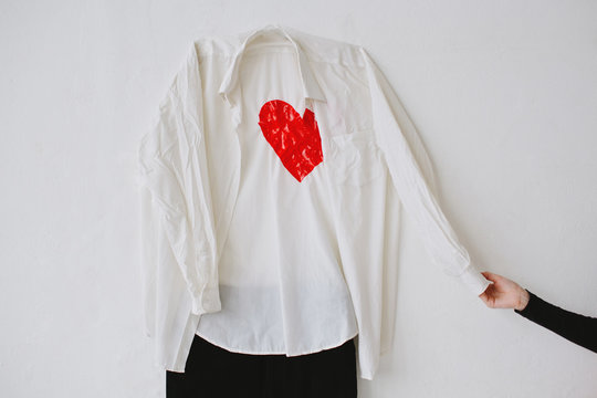 Male clothes with heart and wire