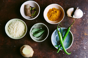 Spices and aromatics for an Indian curry dish.