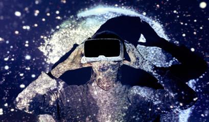 Woman exploring space