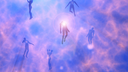 People floating, rising into space , heavens. Astral plane.Silhouette.3d rendering