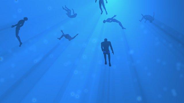 People floating in blue fog, water, mist. Astral plane. Silhouette. 3d rendering