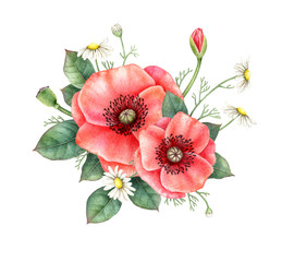 Watercolor bouquet of red poppy, chamomile and greenery isolated on white background. Hand painted illustration. Floral design element.