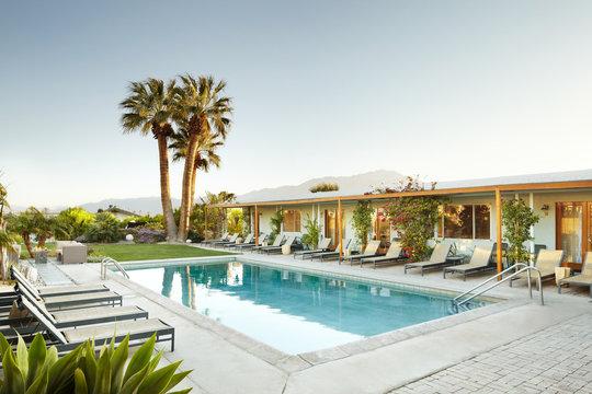 Swimming pool at luxury hot springs in Palm Springs, California