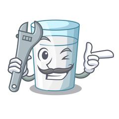 Mechanic cartoon sweet milk glass for breakfast