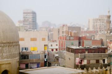 middle eastern cityscape with tilt shift lens